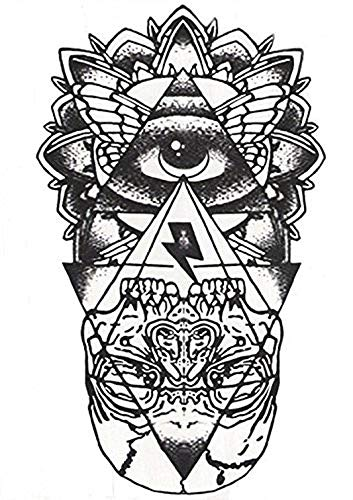 Inception pro infinite hb - 051 - flash tattoo in bianco nero esoterico occhio piramide teschio egitto temporanei corpo stickers gotik gotico orientale esotico tattoo foglio black and white oriente