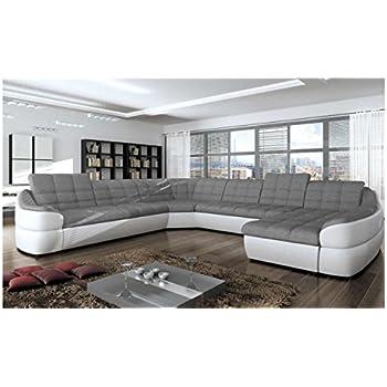9f2f6c65946 JUSTyou Infinity XL Comfort Canapé d angle panoramique Sofa Ensemble de  Salon Simili Cuir Tissu structuré (lxLxH)  310x390x76 86 cm Blanc Gris  Angle Droit