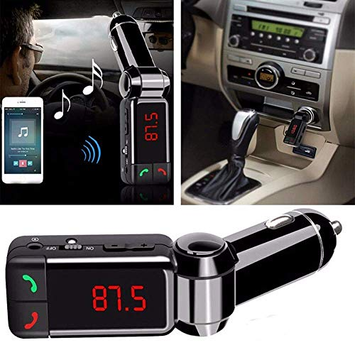 BOKA® BC-06 Car Bluetooth MP3 Audio Player FM Transmitter Modulator Car Kit LCD Display USB Charger Supports Aux Cable/TF Card - (Black)