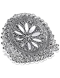 Zaveri Pearls Antique Silver Tone Ghungroo Adjustable Finger Ring for Women-ZPFK7272