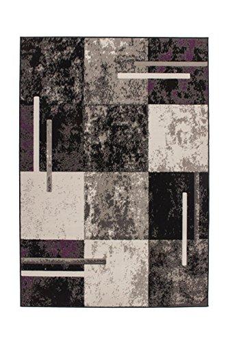 Teppich Wohnzimmer Carpet Modern Design Rohullah 1010 Rug Geometrie Muster Polypropylen 190x280 cm Grau/Teppiche günstig online kaufen