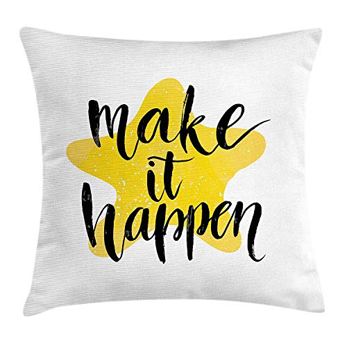 ERCGY Motivational Throw Pillow Cushion Cover, Instructive Motto Yellow Toned Star Background Brush Style Letter Grunge, Decorative Square Accent Pillow Case, 18 X 18 Inches, Yellow Black