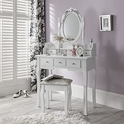 Capri | Dressing Table, Mirror & Stool Set Premium Quality Laura James
