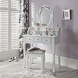 CAPRI AGTC0010 Chaise pour coiffeuse Blanc &Meuble Miroir de...