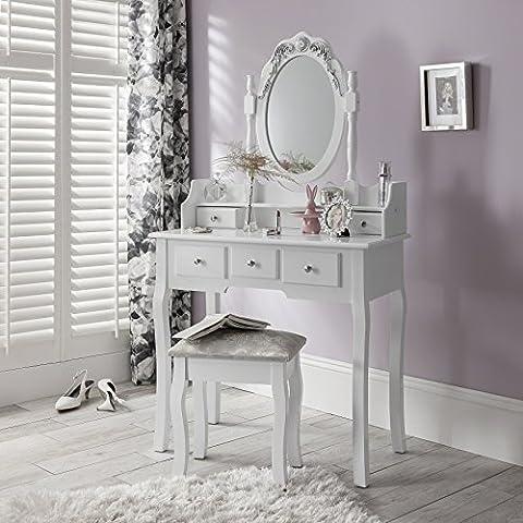 CAPRI AGTC0010 Chaise pour coiffeuse Blanc &Meuble Miroir de chambre à coucher