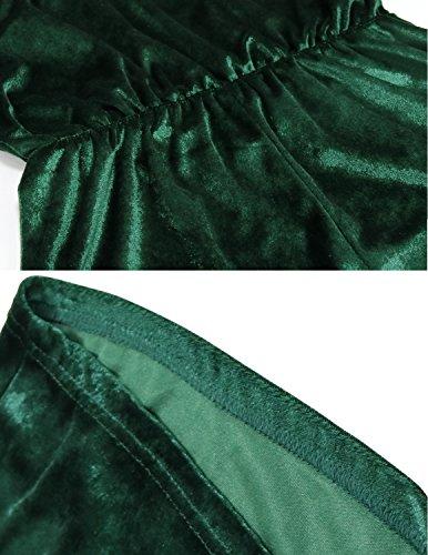 Modetrend Été Combishort Velours Cami Combinaisons Jumpsuit Short de Plage Romper Overall de Femmes Vert