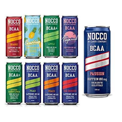 NOCCO (No Carbs Company) gemischter Fall (24x 330ml Dosen) ALLE GESCHMÄCKE