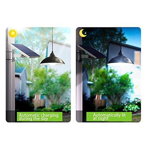 Konesky Luce Solare Sospesa Illuminazione, 12 LED Lampadario Telecomando Lampada a Sospensione Retro Paralume 3M Cord 3 Modalità di Illuminazione
