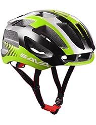 Sava Carcasa Eco-Friendly Super Light Integralmente Ajustable Bici de Montaña del Casco de Ciclista Ultraligero Interior Acolchado Casco de Carretera (Verde)