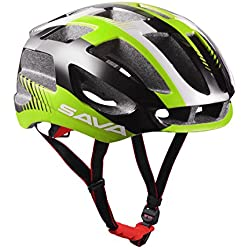Sava Carcasa Eco-Friendly Super Light Integralmente Ajustable Bici de Montaña del Casco de Ciclista Ultraligero Interior Acolchado Casco de Carretera (Verde)