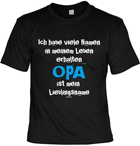 Geschenk für Opa T-Shirt Ich habe viele Namen ...erhalten Opa ist mein Lieblingsname Geschenkidee Opa lustiges Shirt für Opa Vatertag Großvater Funshirt Schwarz
