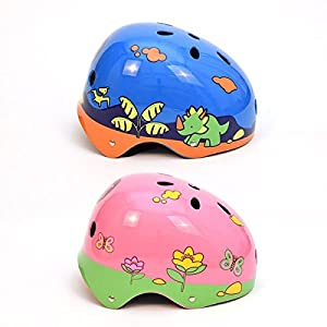 3Style Scooters® - Kids Safety Helmet in Dinosaur Boys and Flower Girls Designs - Size (Medium 55-57cm) - Suitable for Cycling, Skating, Scooting from 3Style Scooters