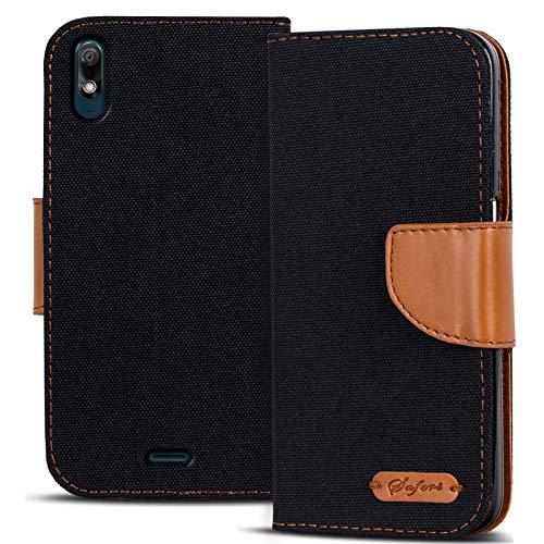 Conie TW53467 Textil Wallet Kompatibel mit Wiko View 2 Go, Textil Hülle Klapptasche mit Kartenfächer Etui Slim Cover für View 2 Go Handyhülle Schwarz