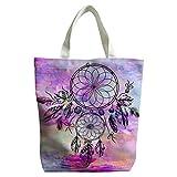 Violetpos Benutzerdefiniert Canvas Klein Handtasche Einkaufstaschen Umhängetasche Schultasche Schön Runder Traumfänger Feder Aquarell Mandala