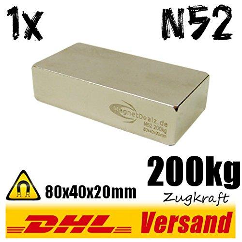 Neodym Magnet 80x40x20mm 200kg hohe Zugkraft N52 super Blockmagnet Hochleistungsmagnet vernickelt