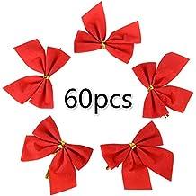 60pcs Lazos Rojos Navidad Fiesta Manualidades 55mm para Árbol de Navidad Decoraciones Regalo Artes Artesanías