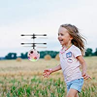 RC Flying Ball Football Helicopter Ball with Rechargeable Light Up Ball Drone Infrared Induction Helicopter with Remote Controller for Indoor and Outdoor Games Electronic Toy Gift for Kids Boys Girls Teenagers Adults