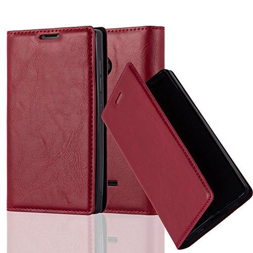 Cadorabo Hülle für Nokia Lumia 435 - Hülle in Apfel ROT – Handyhülle mit Magnetverschluss, Standfunktion und Kartenfach - Case Cover Schutzhülle Etui Tasche Book Klapp Style