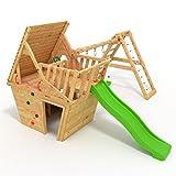 BIBEX® Spielturm - Wunderhäuschen + Rutsche, 2xSchaukel, Knotennetz, Klettersteine, Möbel Grüne Rutsche/Schaukel