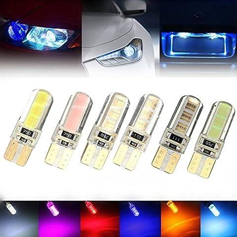 Moppi T10 2W pannocchia canbus LED auto cuneo lato licenza interno chiaro lampadina gel morbido