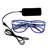 Rosa Schleife® LED Leuchten Luminous Brille Erstaunliche Kühle Brillen Glow Eye Fashion Eyewear Maske für Club Bar Disco DJ, Raves Verrückt, Christmas Nachtparty, Kostüme (Blau Licht)
