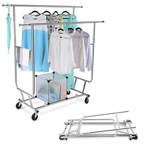 LANGRIA Kleiderständer ZusammenklappbarRollbar Garderobenständer mit 2 Verstellbare Kleidertange,...