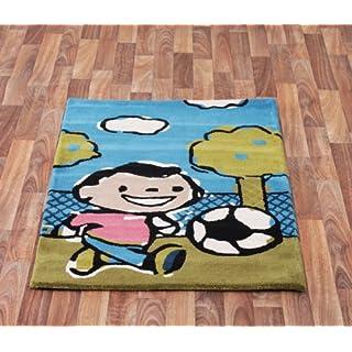 Childrens Boys Footballer Wool Rug High Quality Kids Bedroom Play Room Rugs