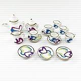 Gazechimp 15pcs Puppenhaus Miniatur-Keramik-Herz-Druck Keramik Topf Tasse Kaffee Tee-Service-Set für 1:12 Puppenhaus Dekoration, sehr schöne Verarbeitung mit viel Liebe zum Detail