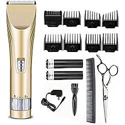 Jingfude Professionelle Haarschneider, Haarschneider für Männer und Baby, geräuscharme schnurlose Kids Grooming Clippers, selbst Haarschneide System, 2 wiederaufladbare Batterien, 8 Kämme