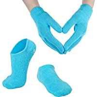 Guantes y Calcetines Hidratantes de Spa de Gel Algodón Suave para Piel Seca Agrietada para Ambas Mujeres y Hombres (Azul)