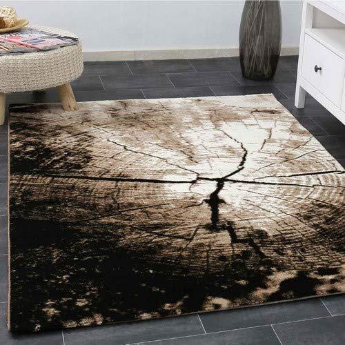 Homestyles Holz Top (Moderner Wohnzimmer Teppich Braun Beige Baumstumpf Holz Optik Top Qualität 160x230 cm)