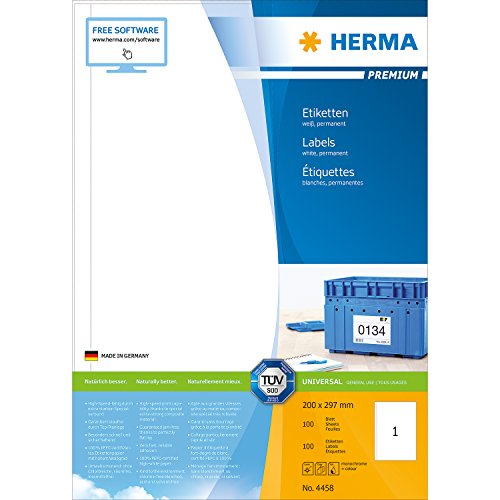 Herma 4458_ A4, 200 x 297 mm - Pack de 100 etiquetas, A4, 200 x 297 mm, color blanco