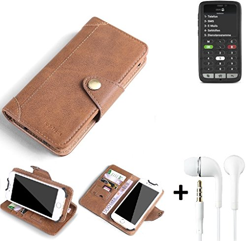 K-S-Trade® Schutzhülle für Doro 8031C Hülle Tasche Handyhülle Handytasche Wallet Flipcase Cover Handy Tasche Kunsteleder Braun Inkl. in Ear Headphones