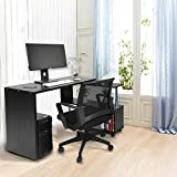 360 Grad Drehbare Verstellbare Ecke Computer Schreibtisch mit Bücherregalen (Schwarz)