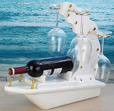YANFEI Casier à vin Mode classique en bois tient la bouteille de votre favori vin Creative Home voilier forme porte-bouteilles présentoirs , white