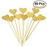 BESTOMZ 50PCS Cuore Cupcake Toppers Gold Glitter Cuore Grande Topper per Cupcake Golden Wedding/Bridal/Baby Shower
