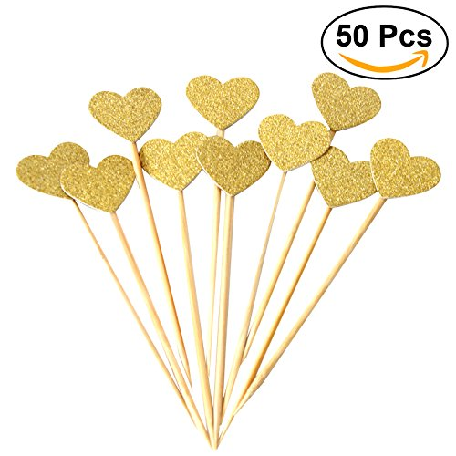 BESTOMZ 50pcs Heart Cupcake Toppers Gold Glitter Heart Large Cupcake Toppers Golden Wedding / Bridal / Baby Shower