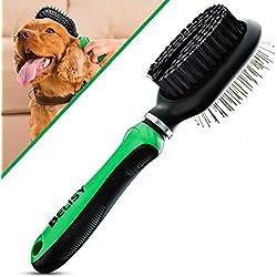 BELISY Cepillo Perro / Gato Lado Doble - Elimina Eficazmente la Capa Inferior y los Pelos Muertos - Cepillo Pelo Mascotas – Peine Mascotas - Pelo Medio y Largo - Verde