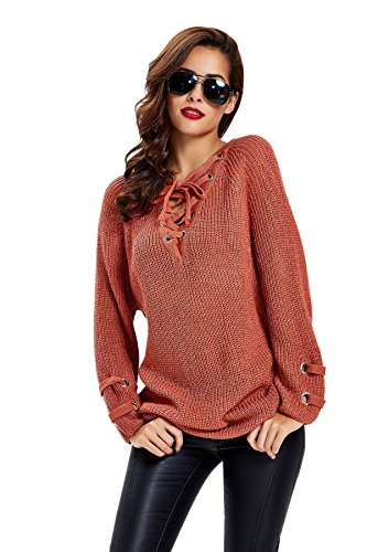 apparel-womens-long-sleeve-lace-up-knit-pullover-sweater-dress-top-orange-red