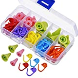 LEEQ☛ 60 pièces de marqueurs de Point à Tricoter et Crochet, mélange de Couleurs et 20 pièces 2 Tailles Aiguilles à Tricoter Protecteurs/Bouchons
