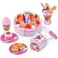 FUDAER 73 pezzi DIY Frutta Compleanno taglio torta cibo giocattolo gioco impostato torta di compleanno Bambini
