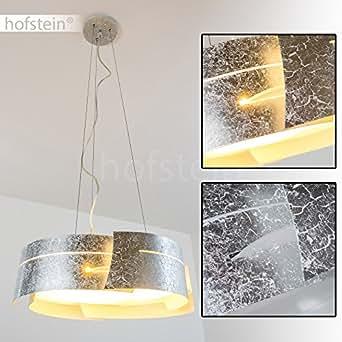 h ngeleuchte novara mit lampenschirm in silberfarbenen wellen pendelleuchte aus metall. Black Bedroom Furniture Sets. Home Design Ideas
