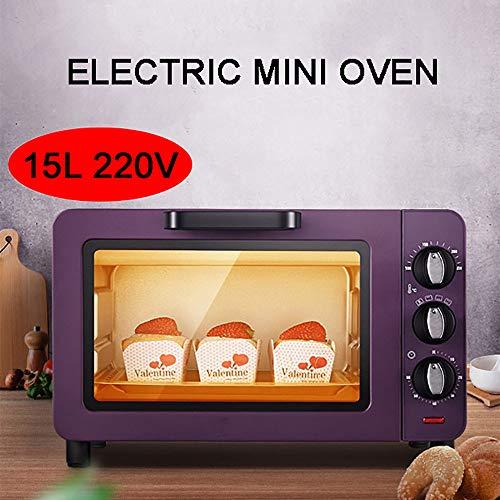 MAOMAOQUEENss 220 V 1200 W Mini-Backofen, 15 L Multifunktions-Haushaltsbackkuchen-ElektroröSter, Dreischichtige Backposition, PräZise Temperaturregelung Und Timing, Purple