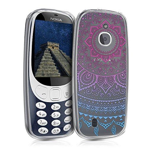 kwmobile Nokia 3310 3G 2017 / 4G 2018 Hülle - Handyhülle für Nokia 3310 3G 2017 / 4G 2018 - Handy Case in Blau Pink Transparent