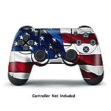 PlayStation 4 PS4 Designfolie Controller Sticker - Aufkleber Schutzfolie Skin für Sony Playstation DualShock 4 Wireless Controller - Stars N Stripes