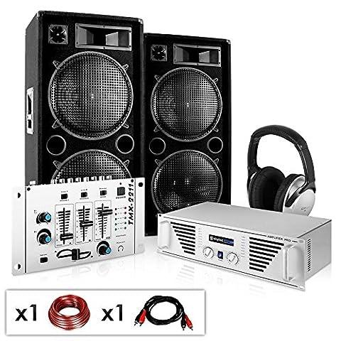 PA Komplett-Set N.Y. Fireblade 2000 Watt Party-Musikanlage mit 1600 Watt Verstärker, 3-Kanal-Mixer, DJ-Kopfhörer & inkl. Boxenkabel (für bis zu 400 Personen, 4x 30cm Subwoofer, Stereo-Cinch-Eingang für