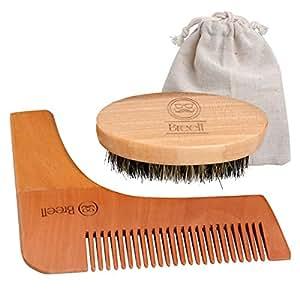 Breett Brosse à barbe, Barbe peigne, Peigne pochoir barbe homme, Barbe Kit 2 pcs, brosse en bois et soie de sanglier 100% naturelle, Kit Complet Pour Homme, Idéal Cadeau de Toilettage