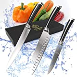 "Tubor Premium Kitchen Knife Set - 3 Professional Quality Knives for The at Home Chef | Includes 7"" Santoku, 8"" Carving Knife & 5"" Paring Knife 