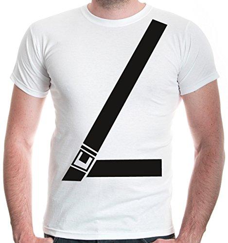 buXsbaum Herren T-Shirt Anschnallgurt   Sicherheitsgurt Seatbelt Gurt Sicherheit Auto   M, Weiß