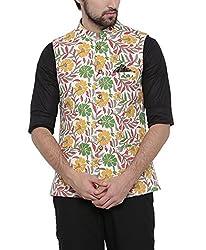 SHOWOFF Mens Linen Sleeveless Slim Fit Printed Beige Nehru Jacket